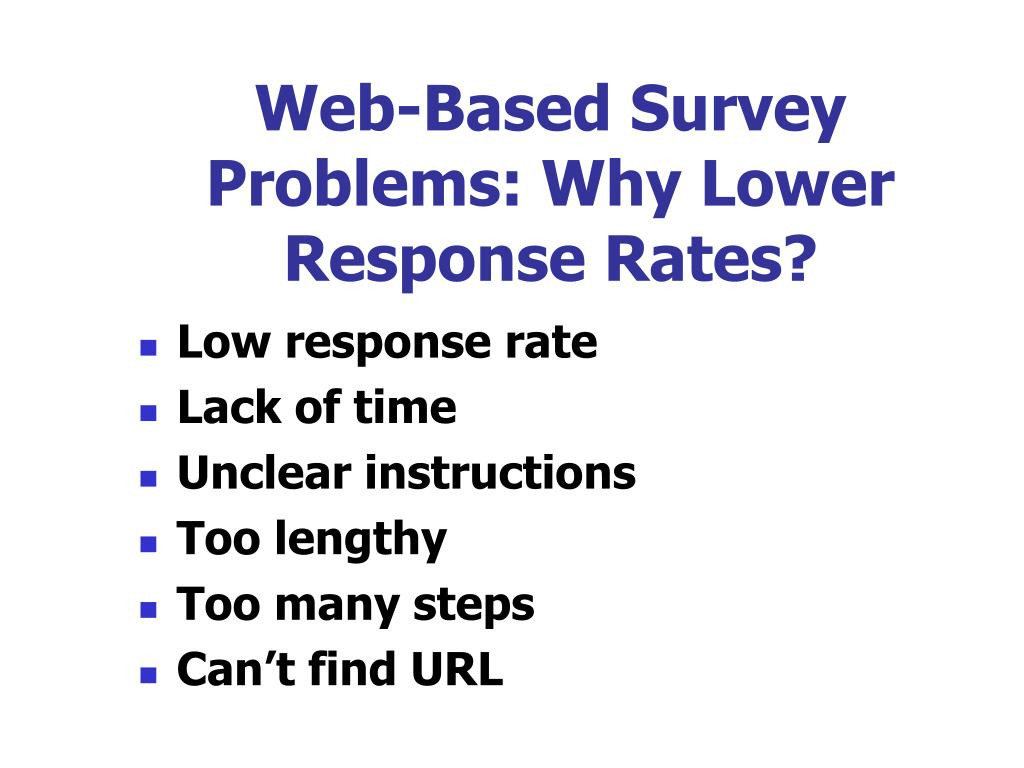 Web-Based Survey Problems: Why Lower Response Rates?