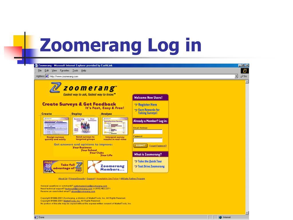 Zoomerang Log in