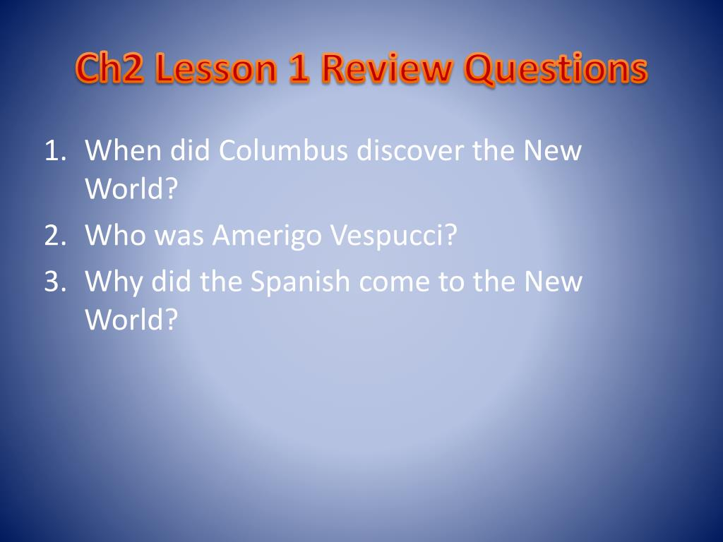 Ch2 Lesson 1 Review Questions