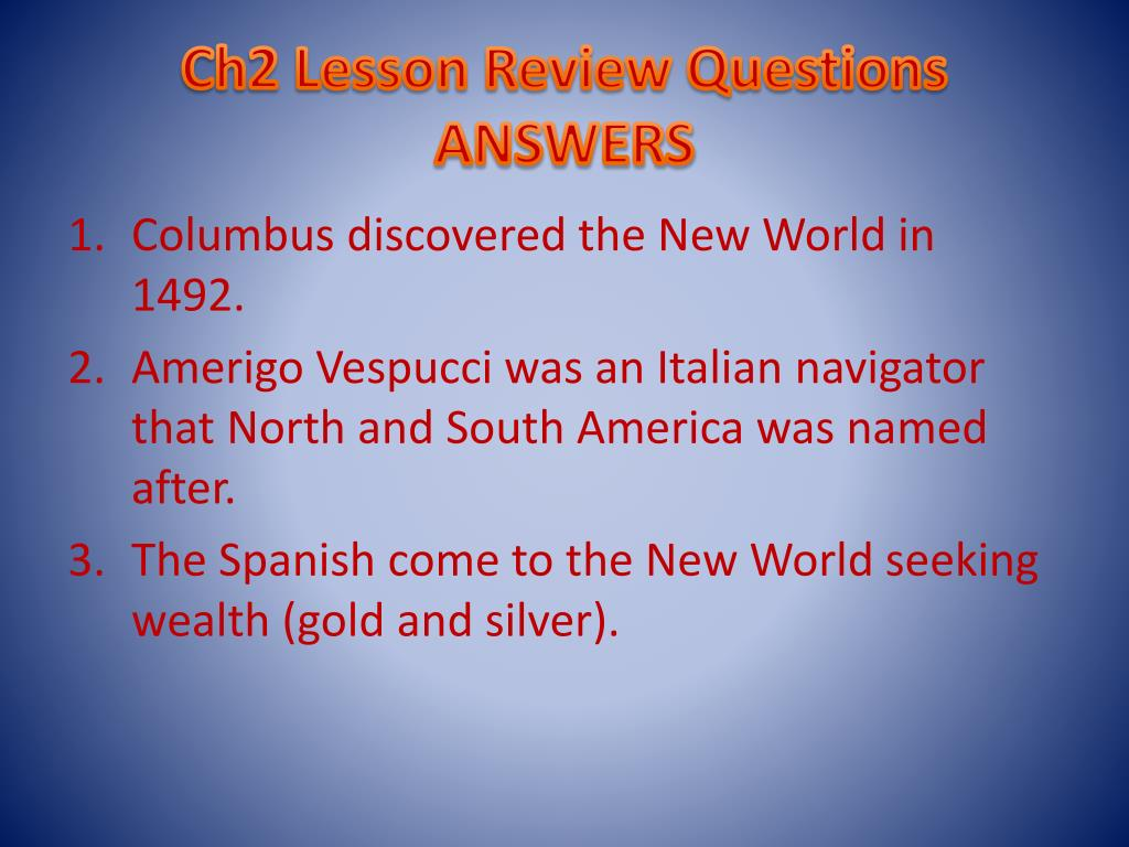 Ch2 Lesson Review Questions