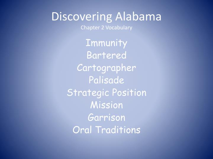 Discovering alabama chapter 2 vocabulary
