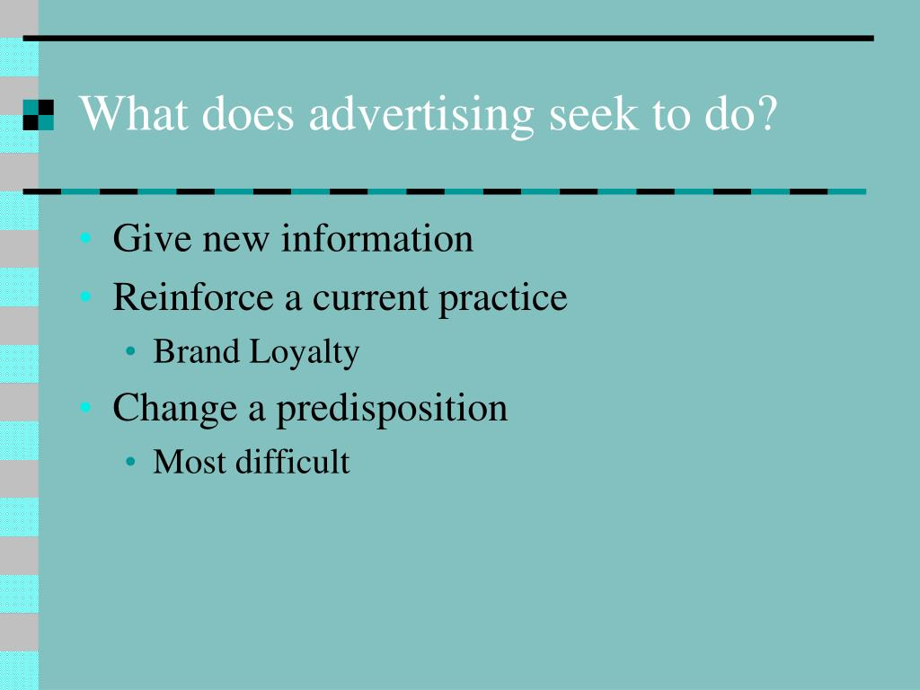 What does advertising seek to do?