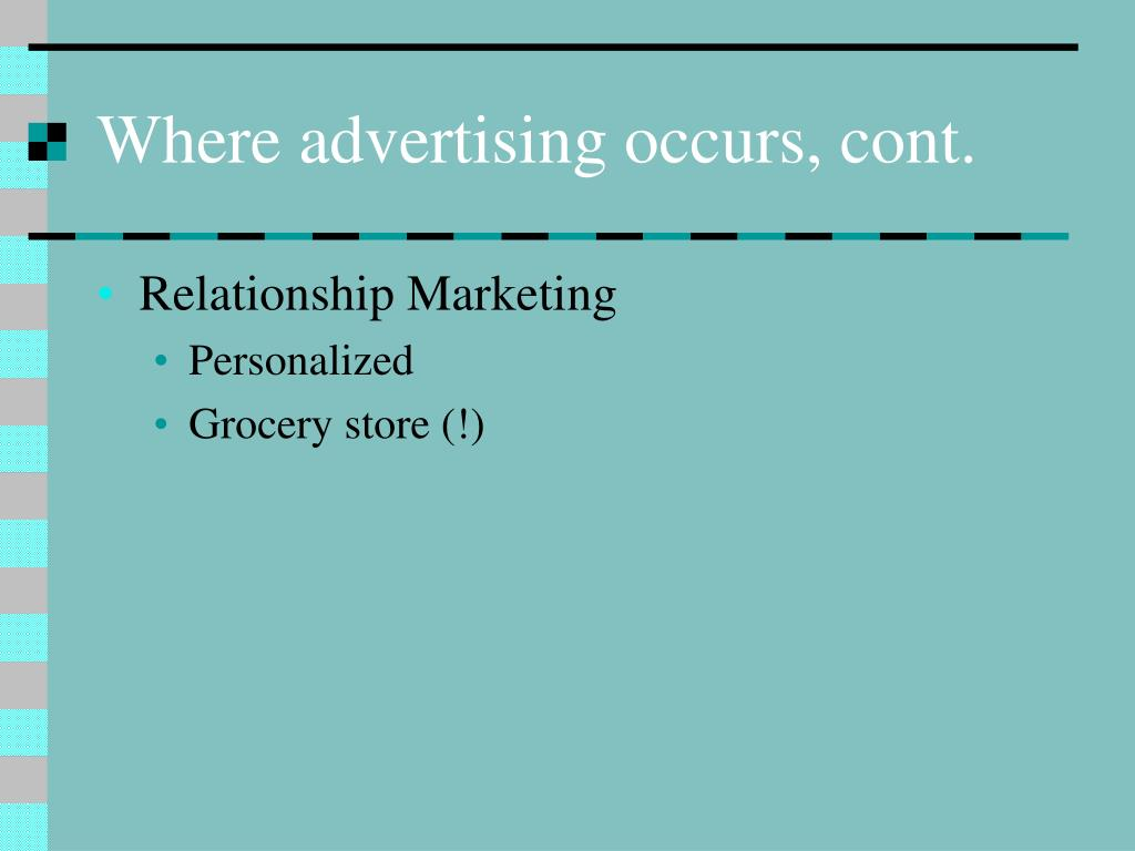Where advertising occurs, cont.