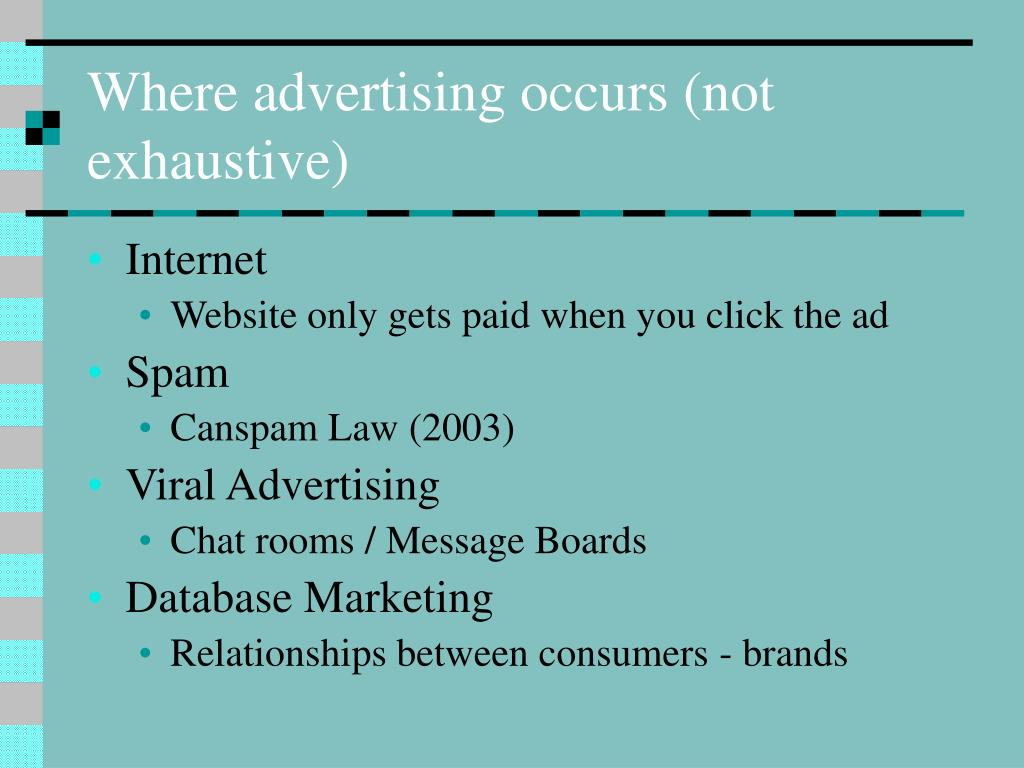 Where advertising occurs (not exhaustive)