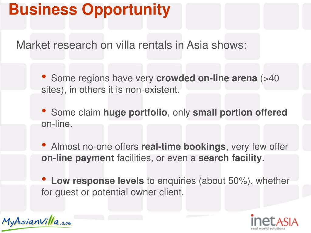 Market research on villa rentals in Asia shows: