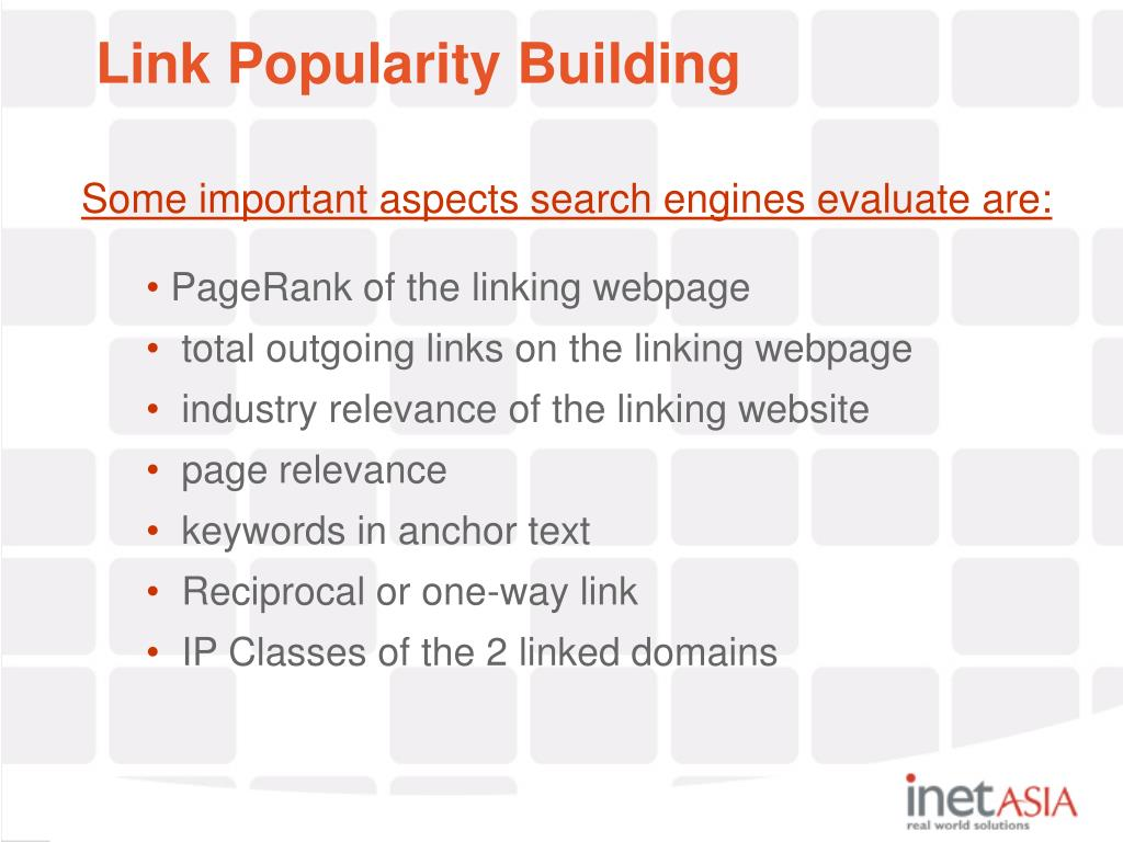 Some important aspects search engines evaluate are: