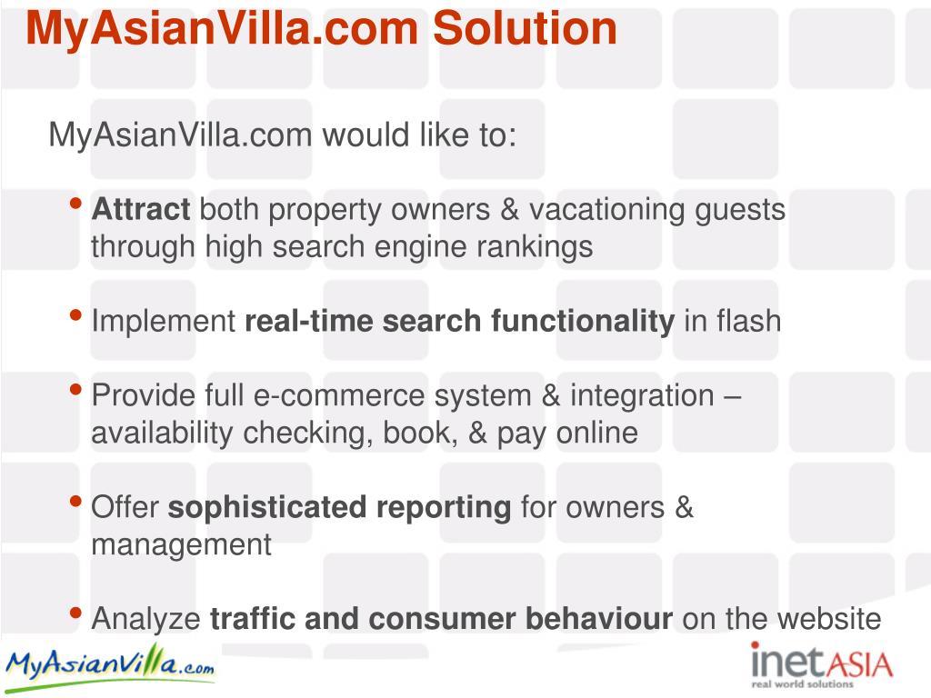 MyAsianVilla.com would like to: