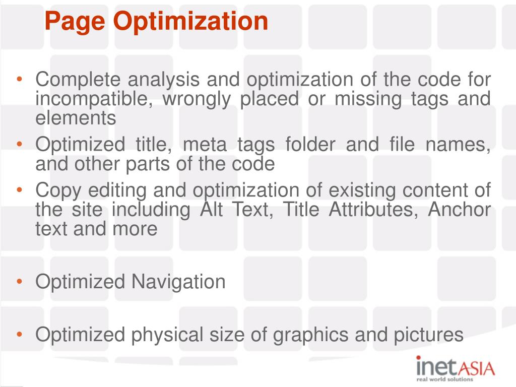 Complete analysis and optimization of the code for incompatible, wrongly placed or missing tags and elements