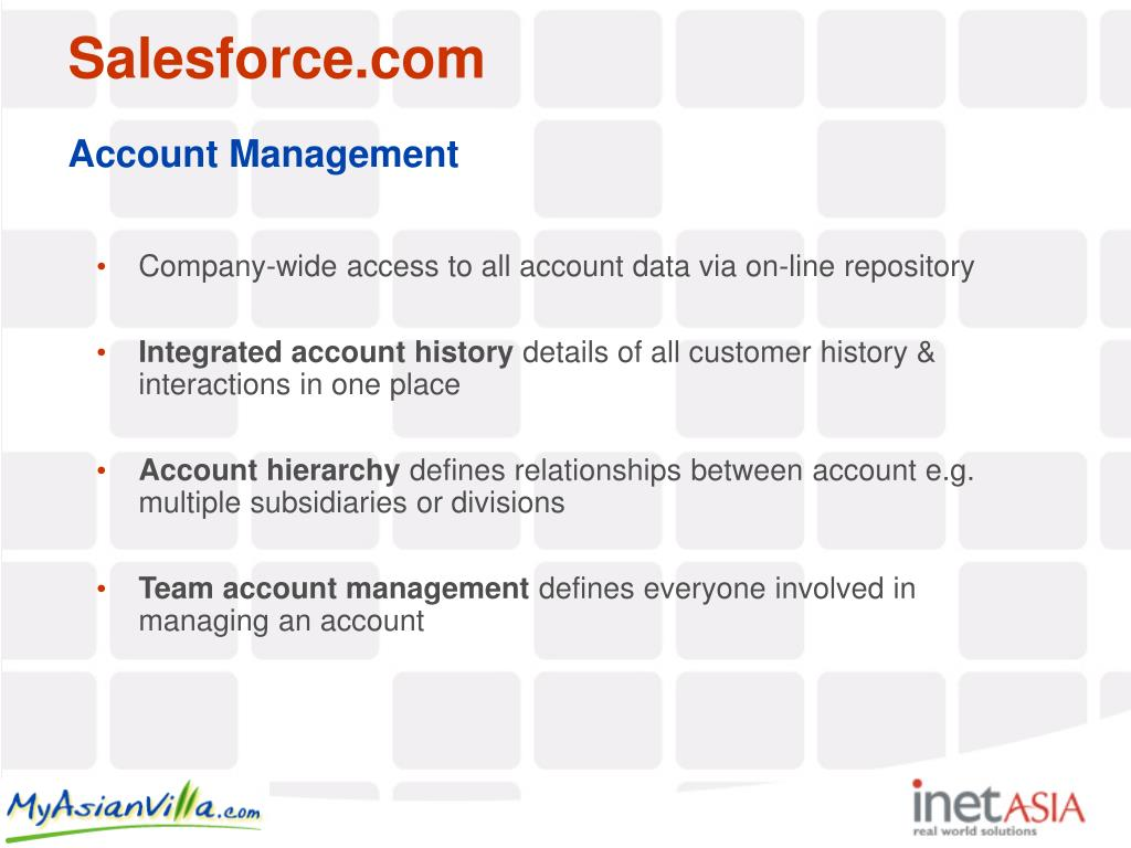 Company-wide access to all account data via on-line repository