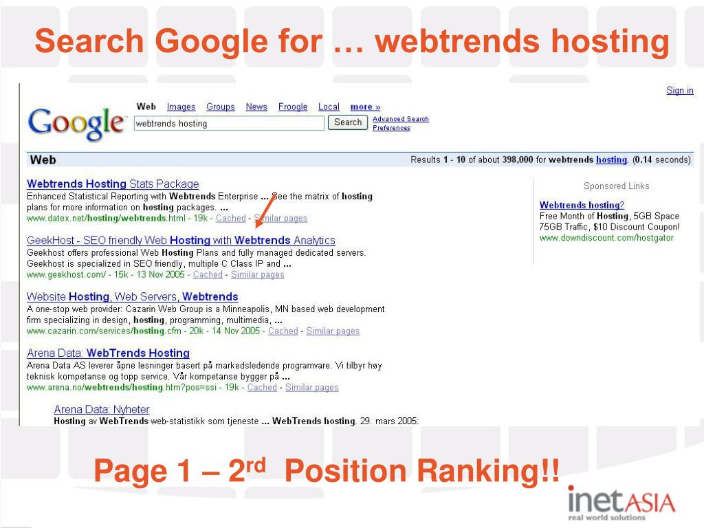 Search Google for … webtrends hosting