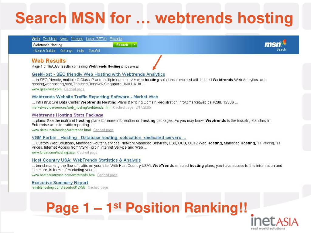 Search MSN for … webtrends hosting