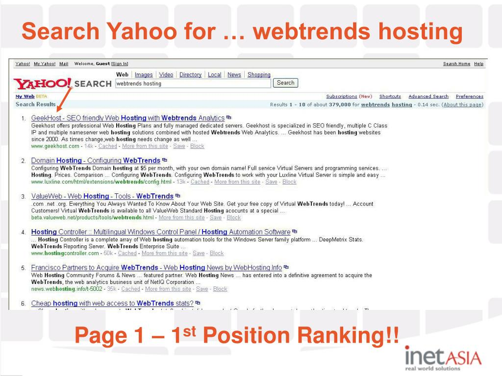 Search Yahoo for … webtrends hosting