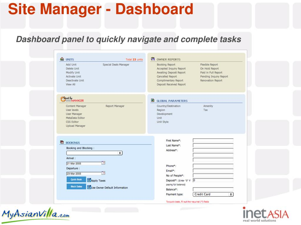 Dashboard panel to quickly navigate and complete tasks