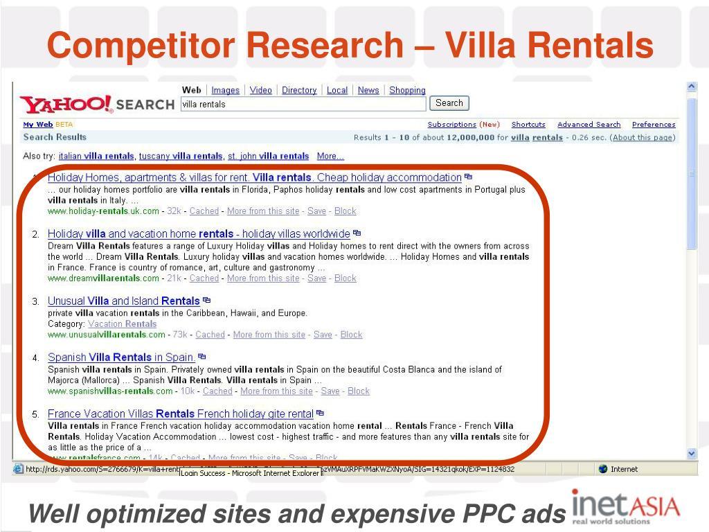 Competitor Research – Villa Rentals