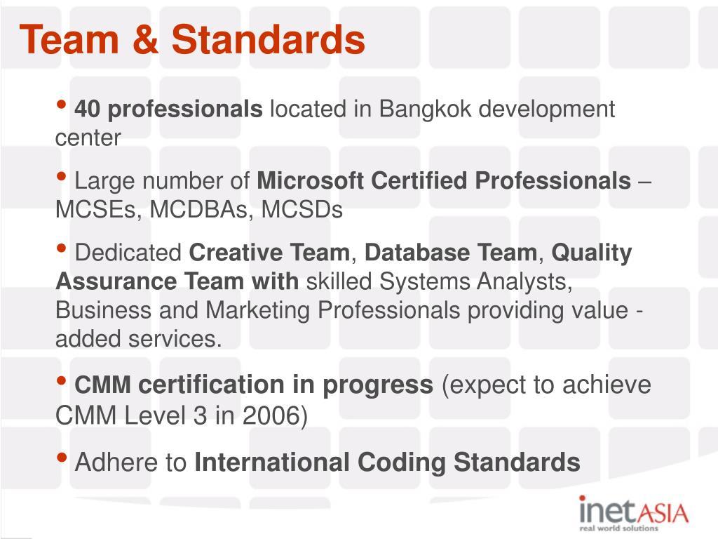 Team & Standards