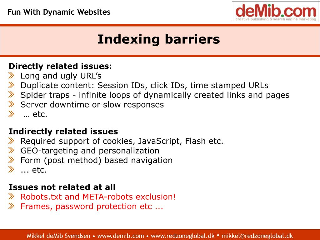 Indexing barriers