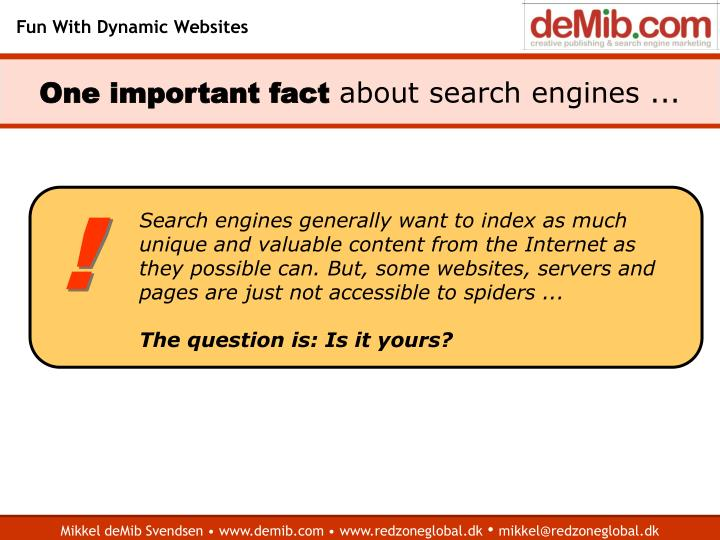 One important fact about search engines
