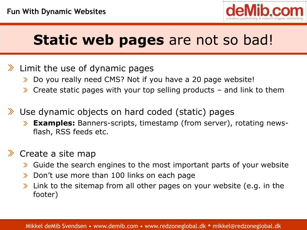 Static web pages