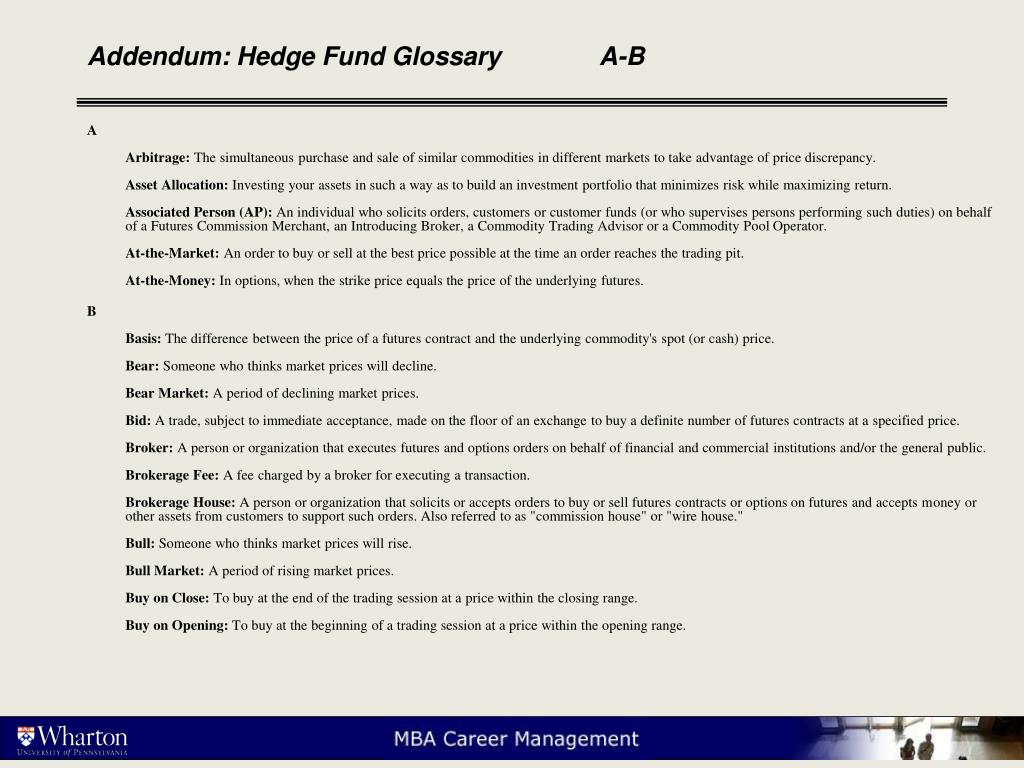 Addendum: Hedge Fund Glossary	A-B