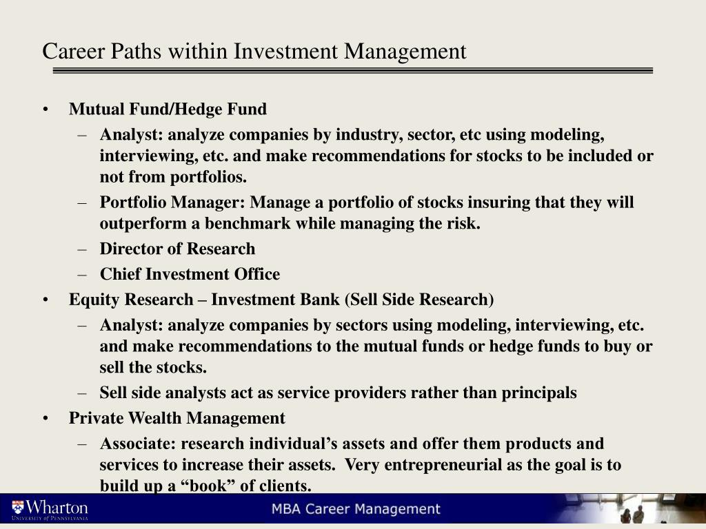 Career Paths within Investment Management