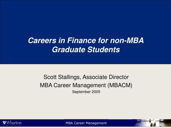Careers in finance for non mba graduate students