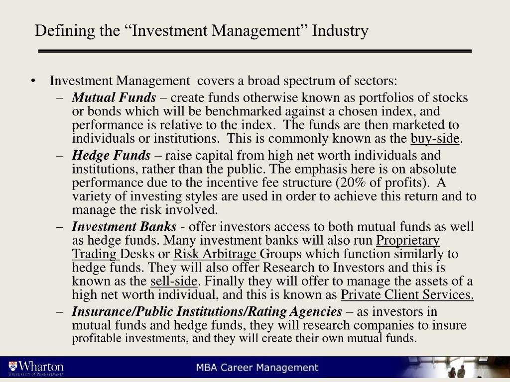 "Defining the ""Investment Management"" Industry"