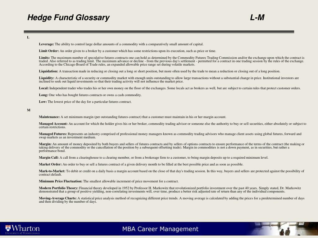 Hedge Fund Glossary					L-M