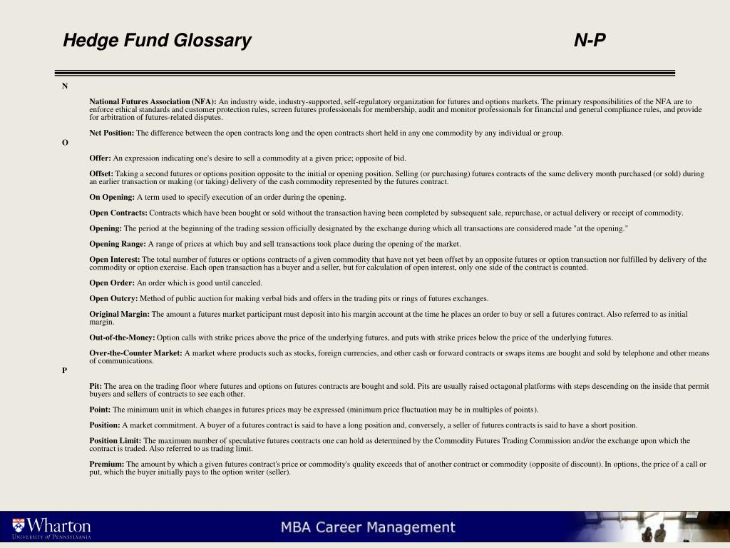 Hedge Fund Glossary					N-P