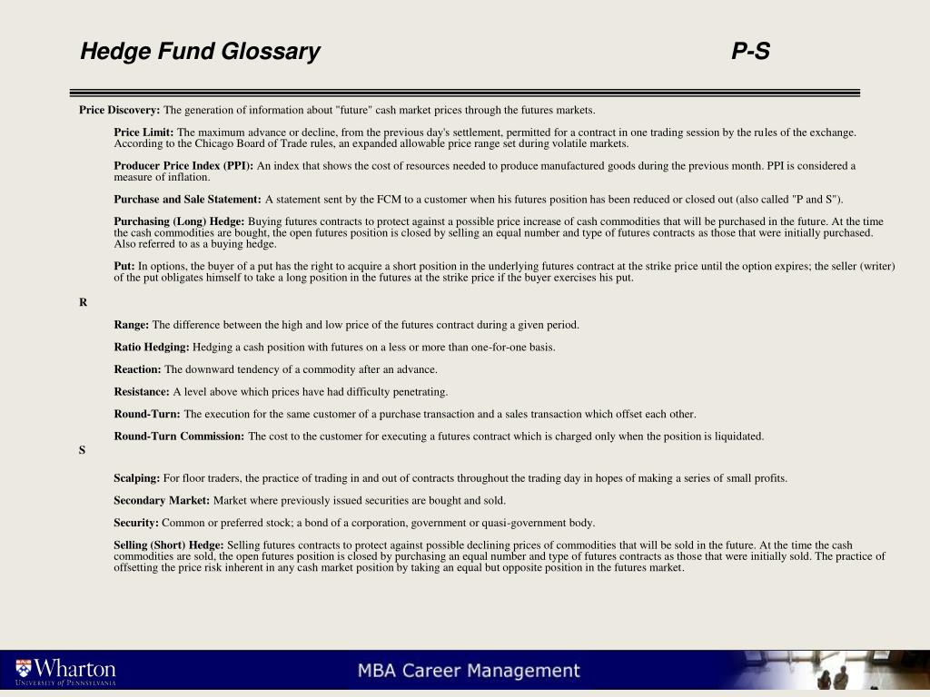 Hedge Fund Glossary					P-S