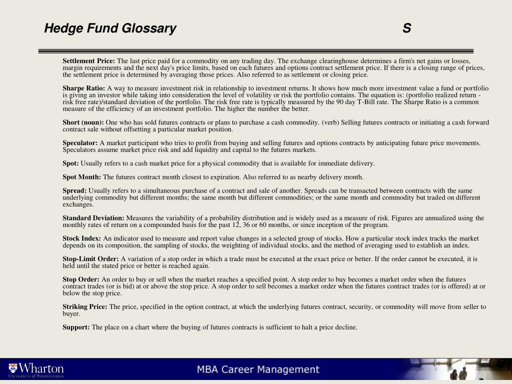 Hedge Fund Glossary					S