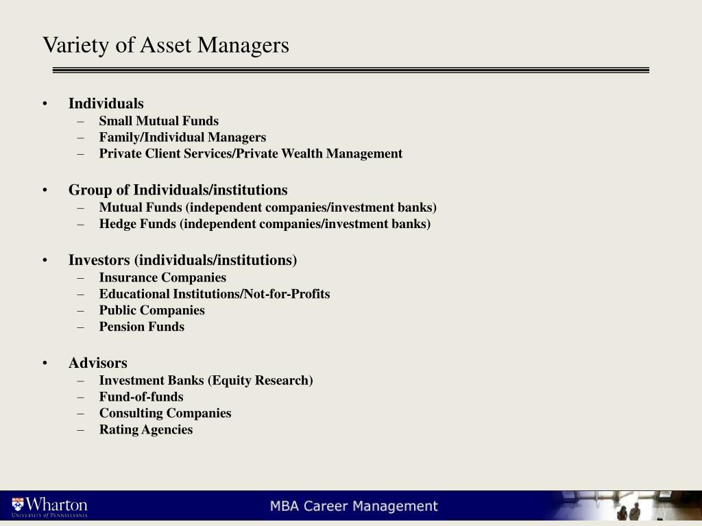 Variety of Asset Managers