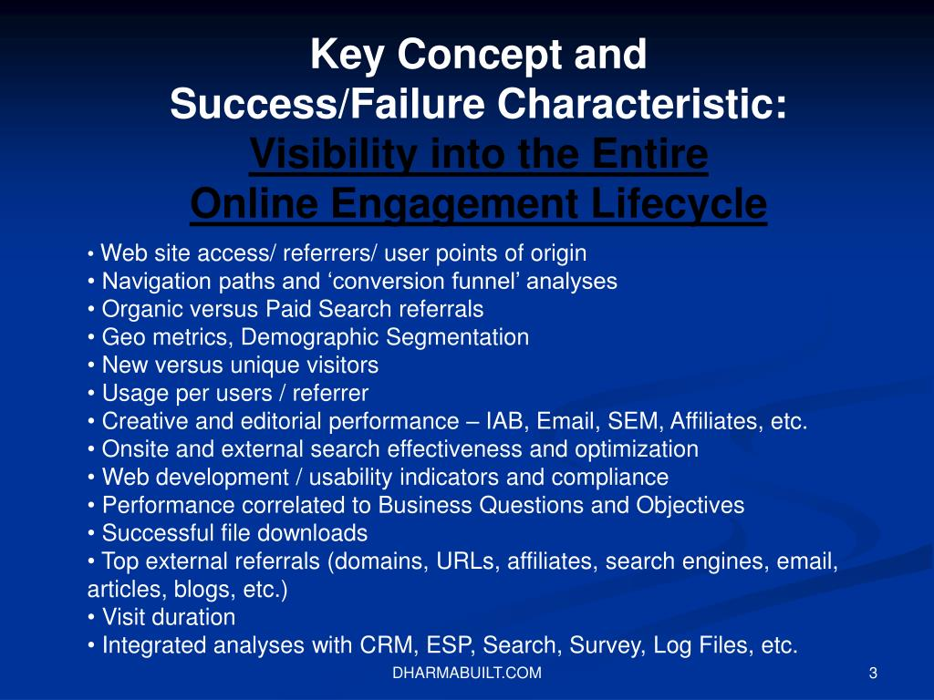 Key Concept and Success/Failure Characteristic: