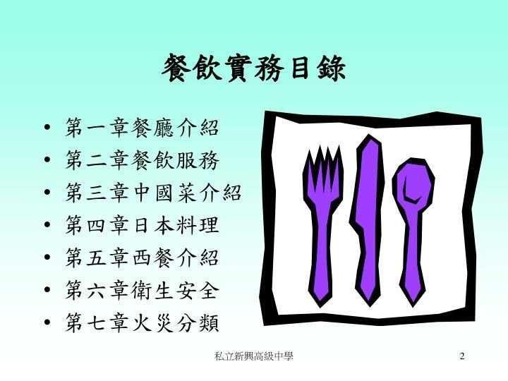 餐飲實務目錄
