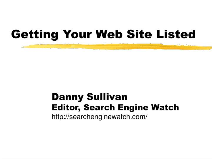 Getting your web site listed