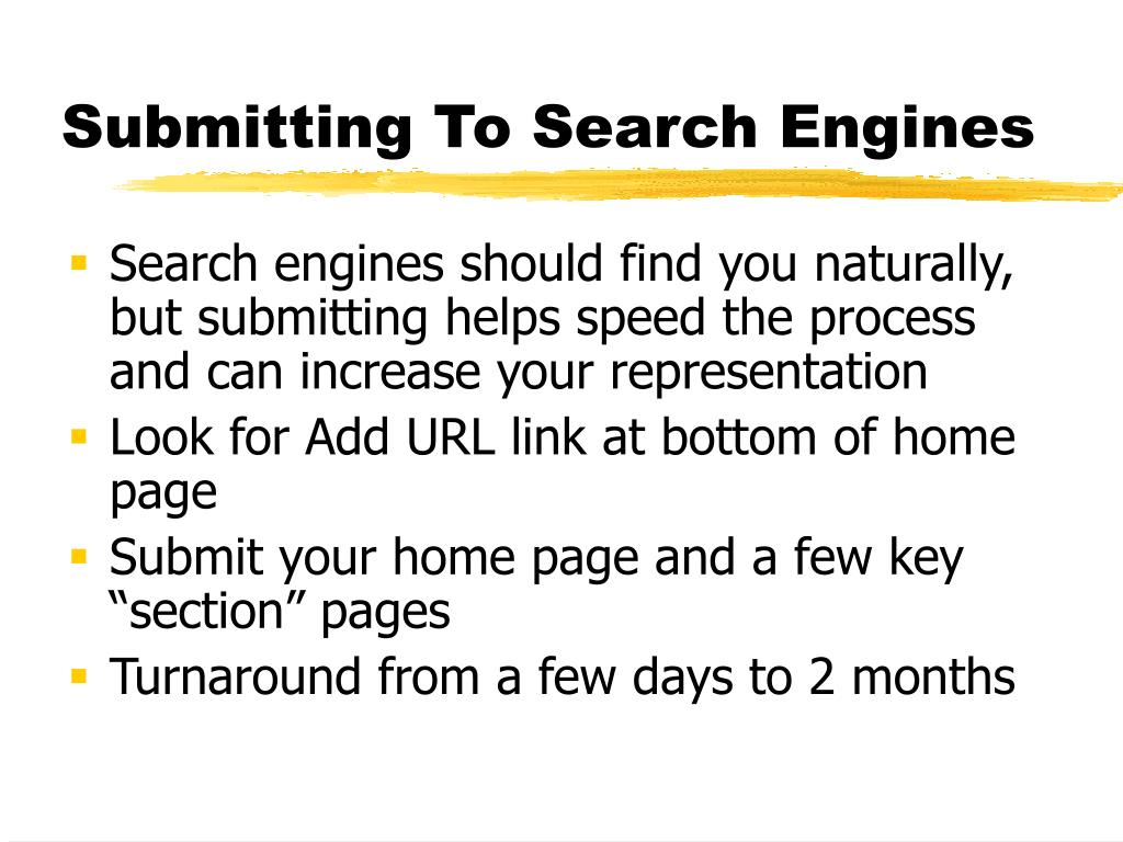 Search engines should find you naturally, but submitting helps speed the process and can increase your representation