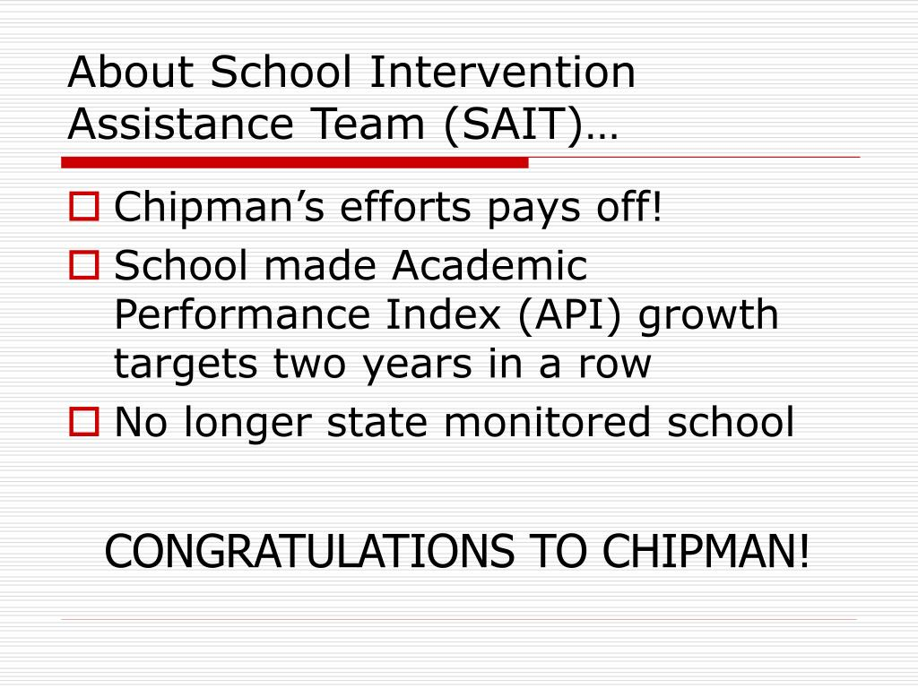 About School Intervention Assistance Team (SAIT)…