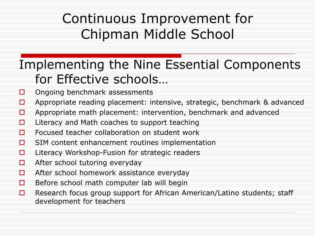 Continuous Improvement for