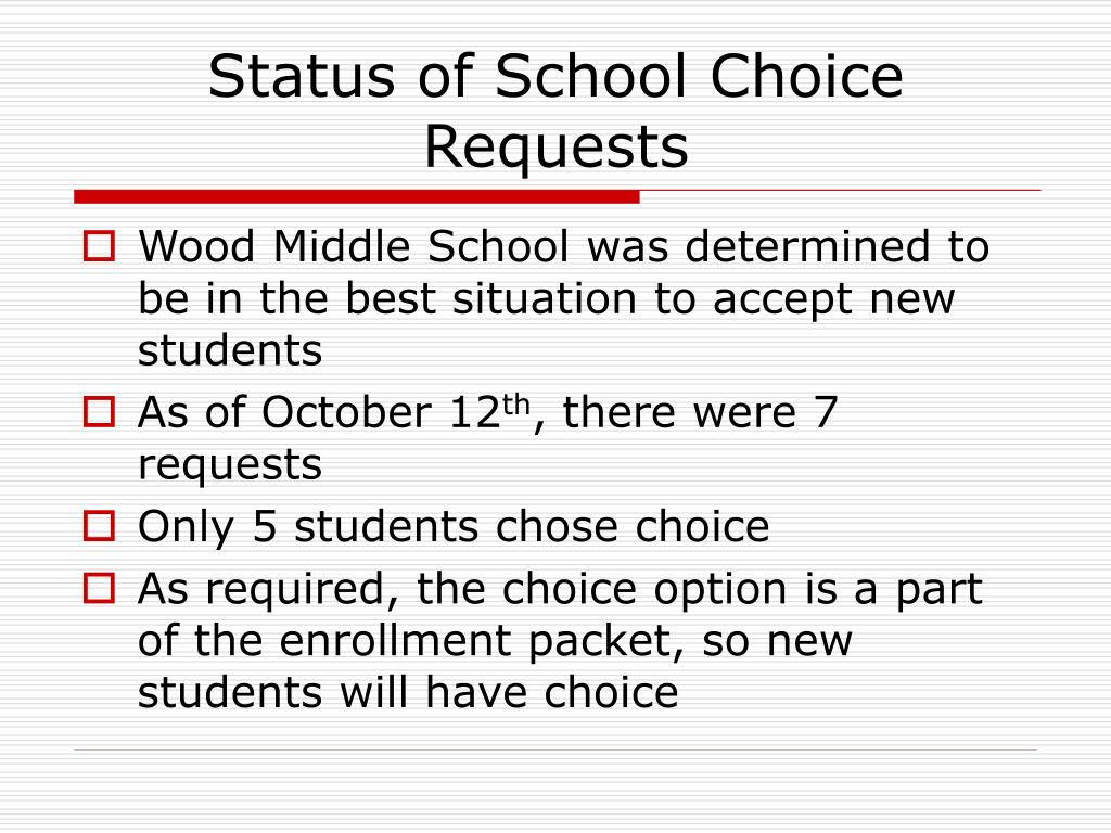 Status of School Choice Requests
