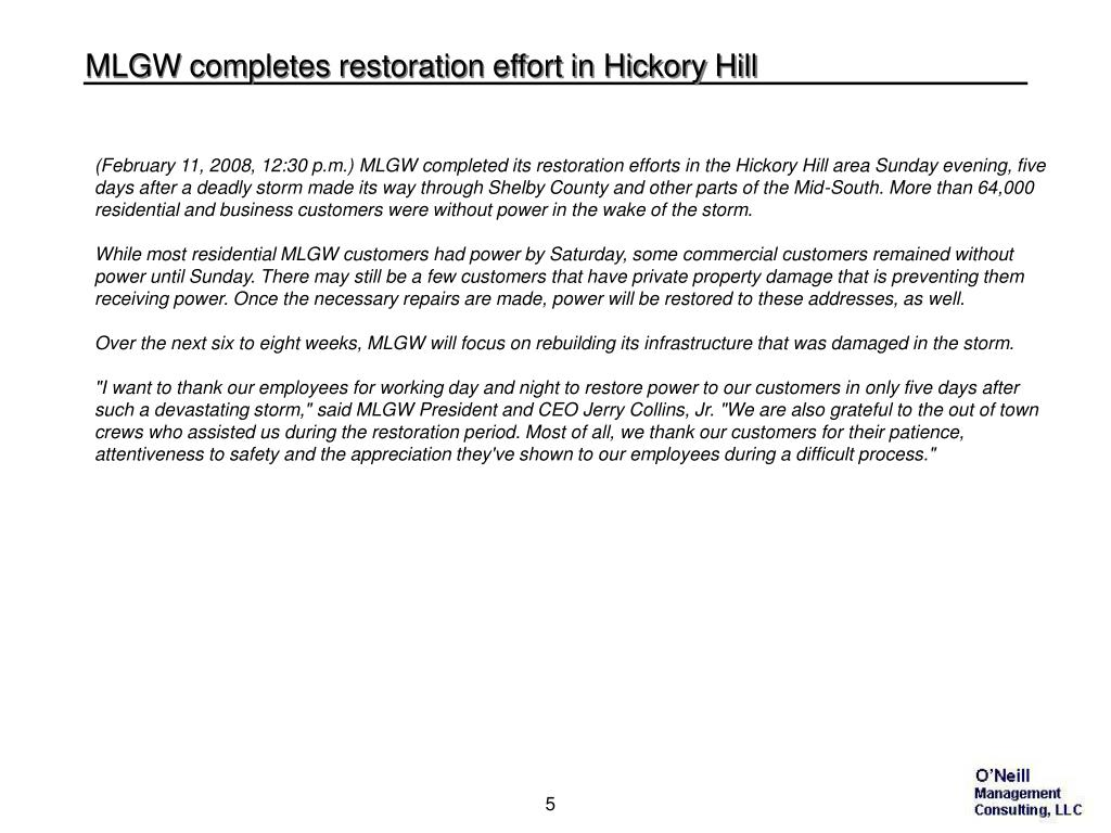 MLGW completes restoration effort in Hickory Hill