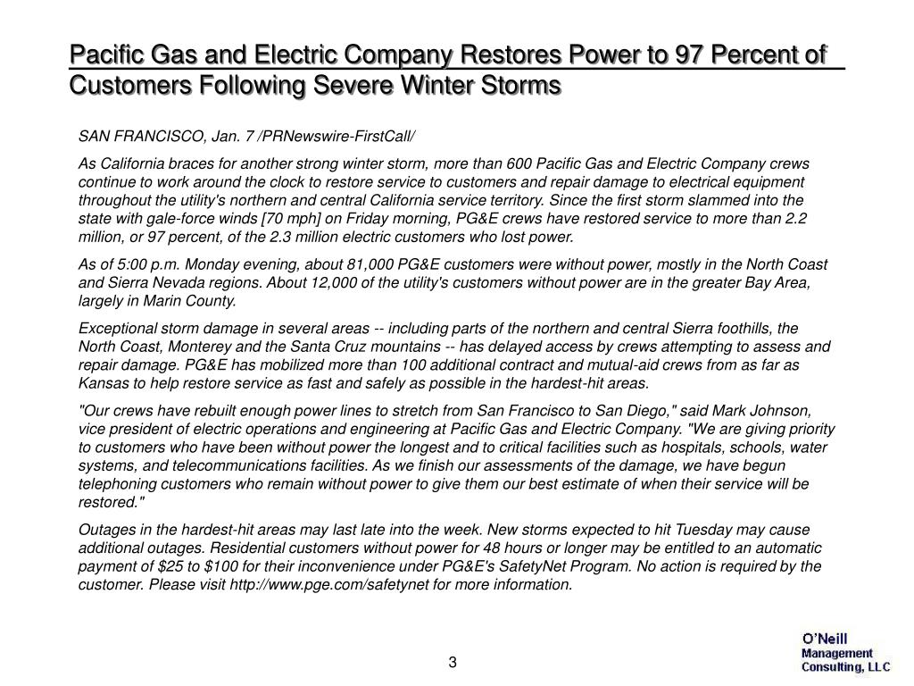 Pacific Gas and Electric Company Restores Power to 97 Percent of Customers Following Severe Winter Storms