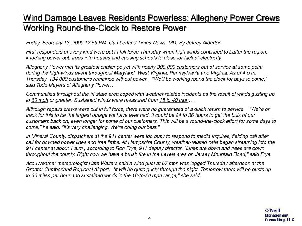 Wind Damage Leaves Residents Powerless: Allegheny Power Crews Working Round-the-Clock to Restore Power