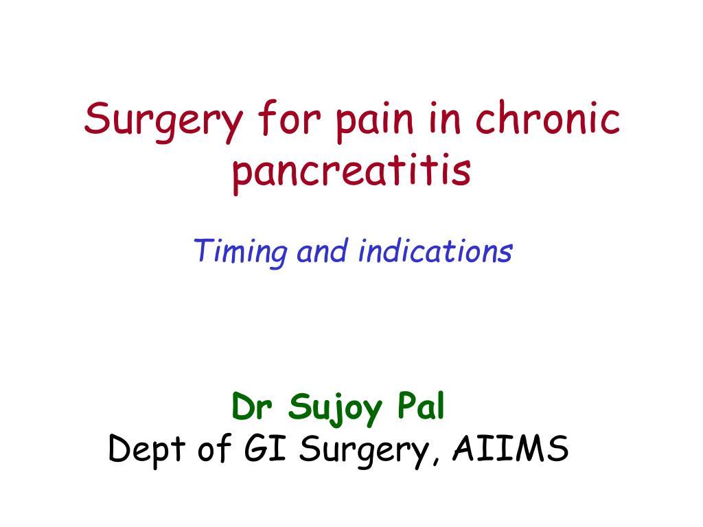 Surgery for pain in chronic pancreatitis