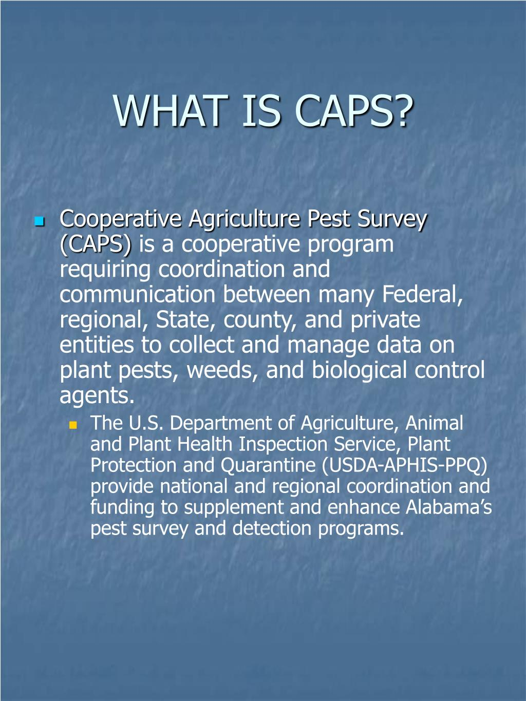 WHAT IS CAPS?