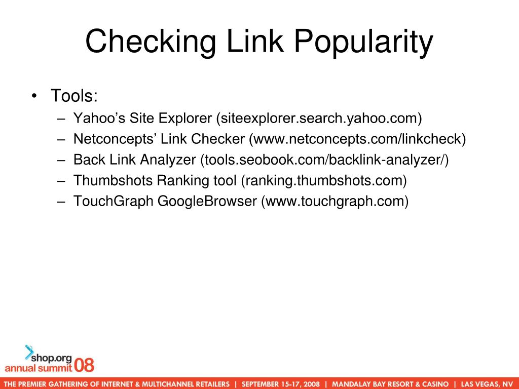 Checking Link Popularity