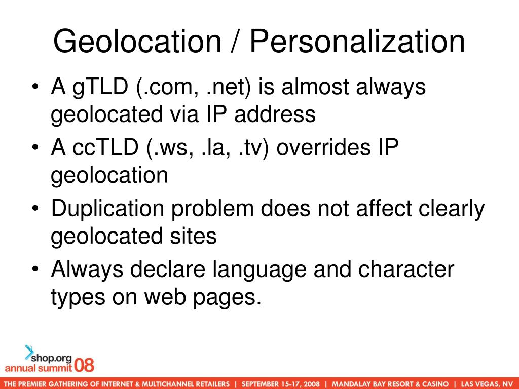 Geolocation / Personalization