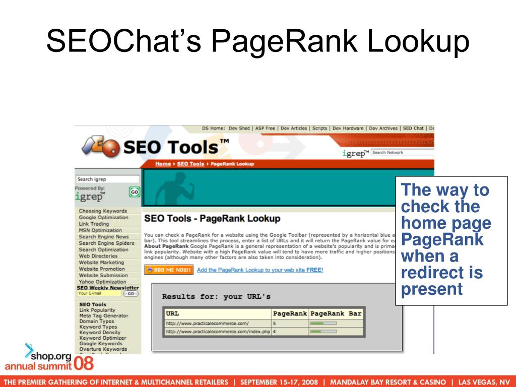 SEOChat's PageRank Lookup