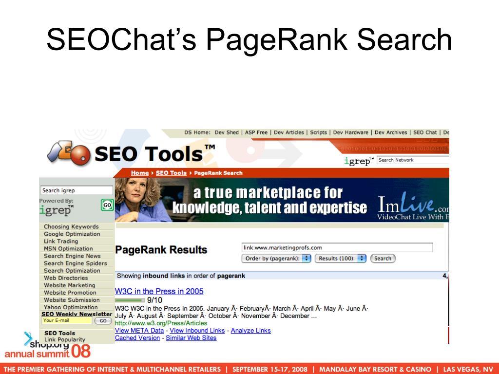 SEOChat's PageRank Search