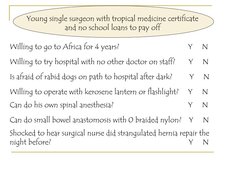 Young single surgeon with tropical medicine certificate and no school loans to pay off