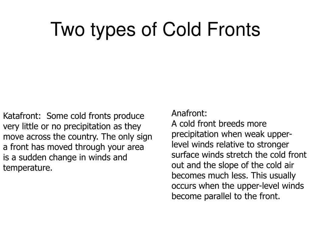 Two types of Cold Fronts