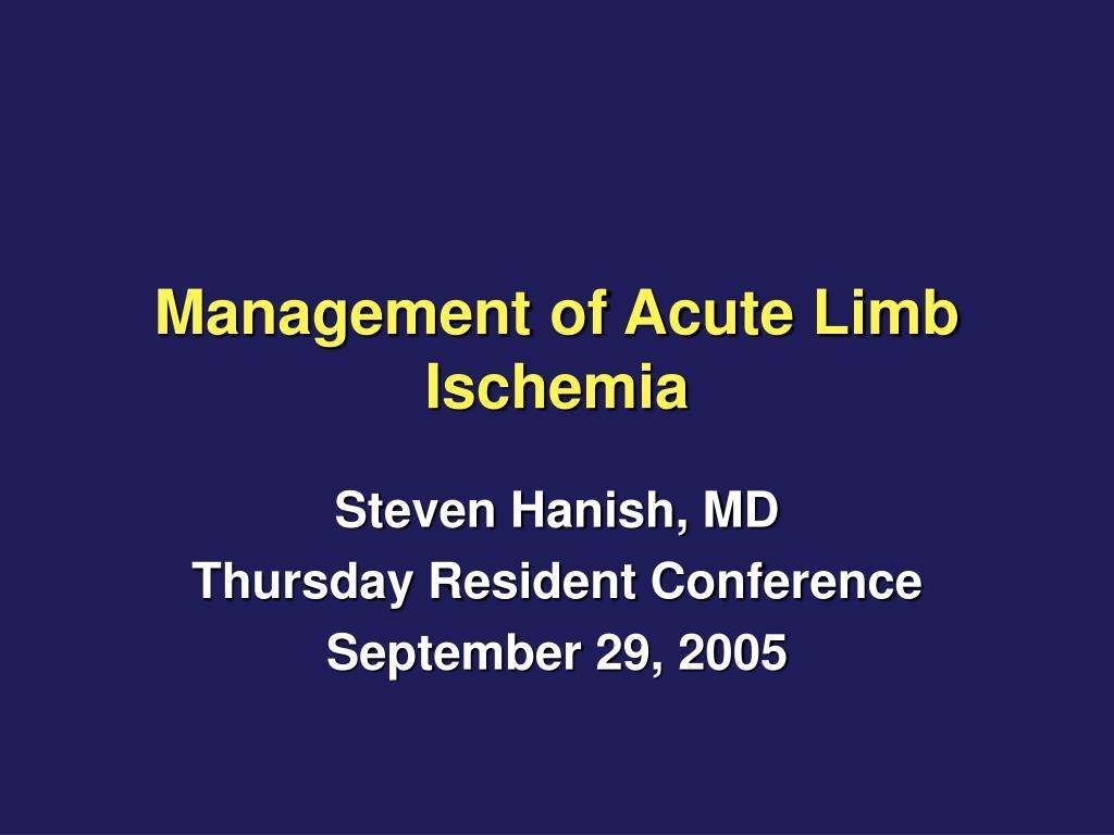 Management of Acute Limb Ischemia